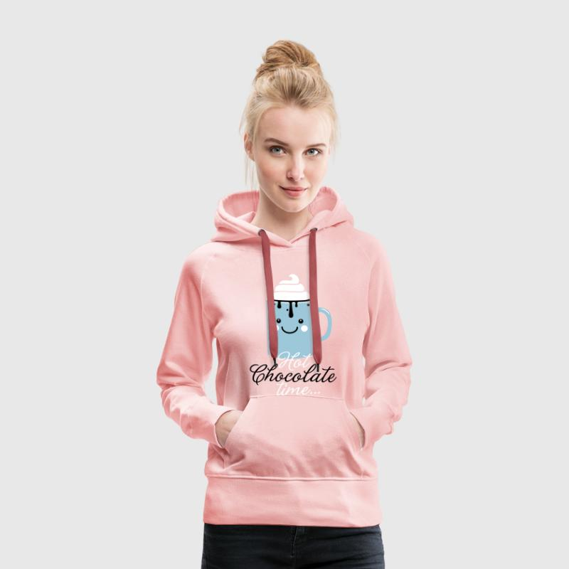 Funny cute mug with i love hot chocolate with sweet cream time slogan in cold snow freezing fall winter t-shirts for geek chic, trendy girls, gift friend christmas mothersday valentine's day - Women's Premium Hoodie