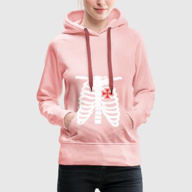 Heart skeleton heart love iron cross iron cross - Women's Premium Hoodie