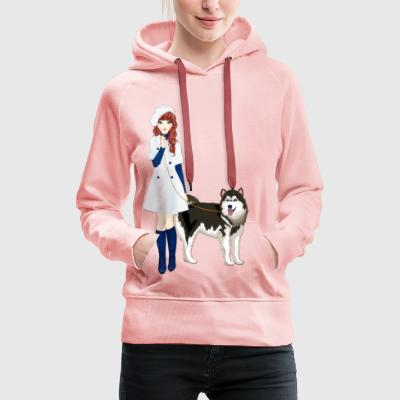 Alexandra and Tilus the husky - Women's Premium Hoodie
