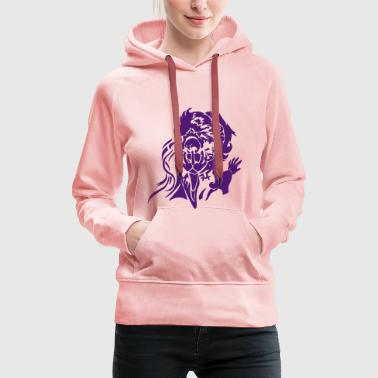 Gnom magician with fireball RPG fantasy vector - Women's Premium Hoodie