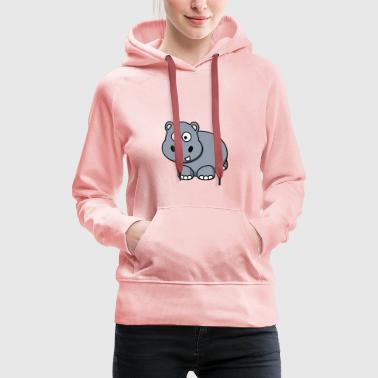 Hippo Happy Hippo comic style for children - Women's Premium Hoodie