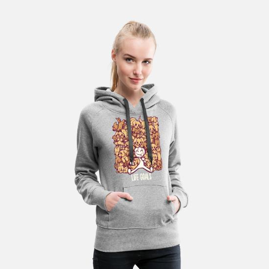 Bestsellers Q4 2018 Hoodies & Sweatshirts - Life Goals - Golden Labrador Retriever dogs - Women's Premium Hoodie heather grey