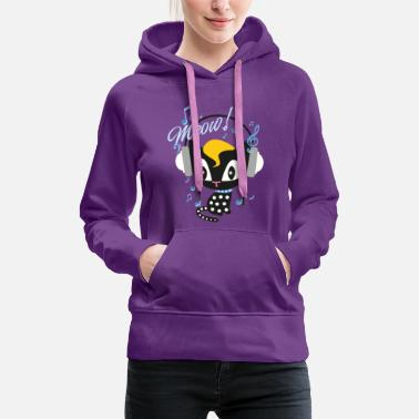 Pussy Deluxe Pussy Deluxe Cat With Headphones  - Women's Premium Hoodie