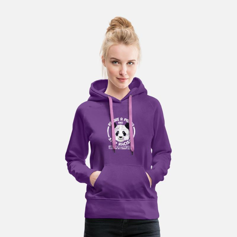 Racism Hoodies & Sweatshirts - Human Rights Panda Bear Anti Racism Antifa - Women's Premium Hoodie purple