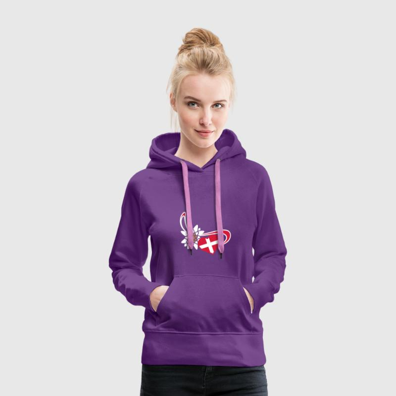 Switzerland flag on heart shape - Vrouwen Premium hoodie