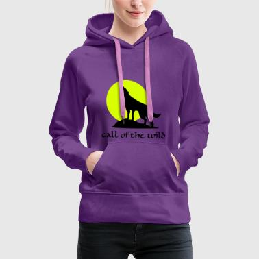 Wolve and Moon Silhouette, Wolf, Dog - Women's Premium Hoodie