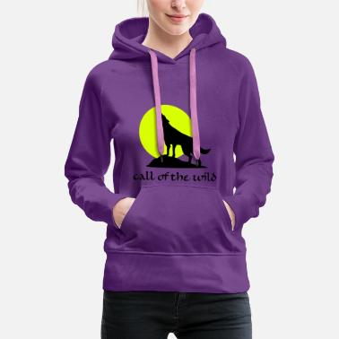 Wolves Wolve and Moon Silhouette, Wolf, Dog - Women's Premium Hoodie