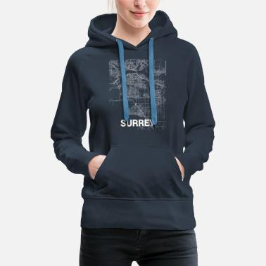 Surrey Surrey city map and streets - Women's Premium Hoodie