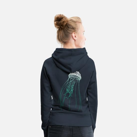 Maori Hoodies & Sweatshirts - Diving Tattoo Jellyfish Maori Tribal divers - Women's Premium Hoodie navy