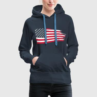 usa_flag_on_blue - Women's Premium Hoodie