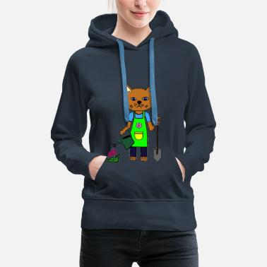 Hand Drawn The gardener cat - Women's Premium Hoodie