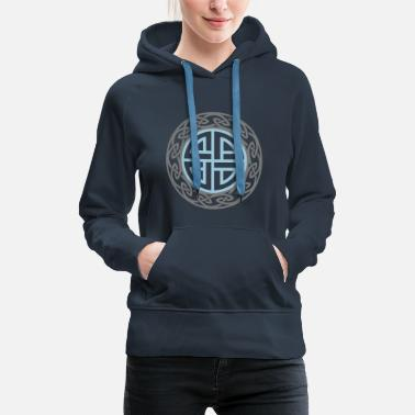 Celte Celtic Shield Knot, Protection, Four Corner, Norse - Women's Premium Hoodie