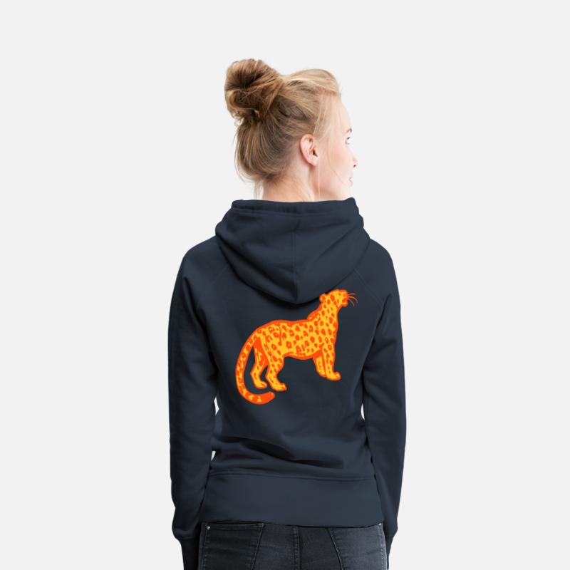 Leopard Hoodies & Sweatshirts - Curious Leopard by Cheerful Madness!! - Women's Premium Hoodie navy