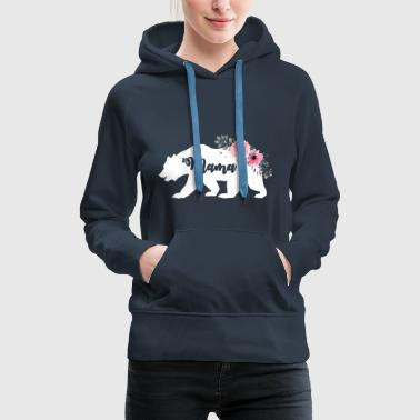 Floral Mama Bear. New Mama Announcement. Camping - Women's Premium Hoodie