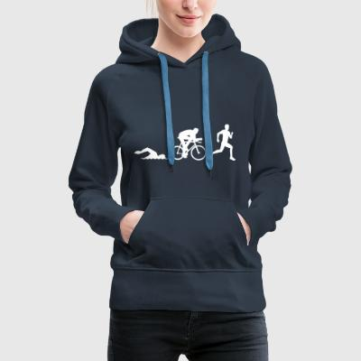 52371401 Triathlon silhouettes Stock Vector triath - Women's Premium Hoodie