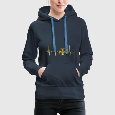 evolution ekg heartbeat iron cross iron cross - Women's Premium Hoodie