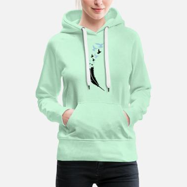 Tattoo feather voegel fly 2 - Women's Premium Hoodie