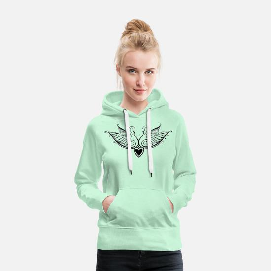 Love Hoodies & Sweatshirts - Filigree calligraphy swans with heart. - Women's Premium Hoodie light mint