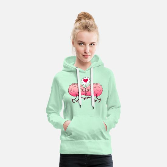 Bizarre Hoodies & Sweatshirts - Couple of brains in love kissing passionately - Women's Premium Hoodie light mint