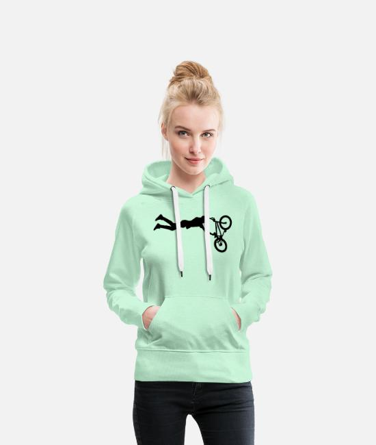 Stunt Hoodies & Sweatshirts - BMX Bicycle Sports Bike - Women's Premium Hoodie light mint