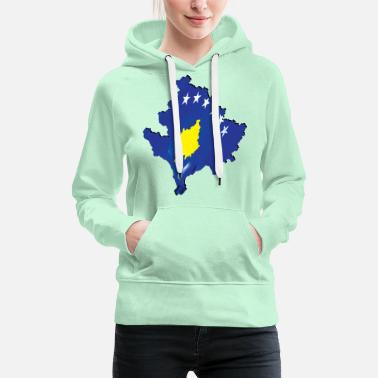 Real Kosovo Flag - Flag Map - Women's Premium Hoodie