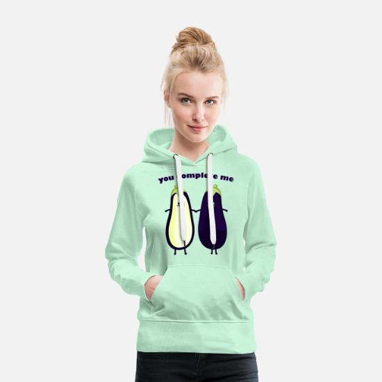 Humour Sweat-shirts - you complete my - Sweat à capuche premium Femme vert clair menthe
