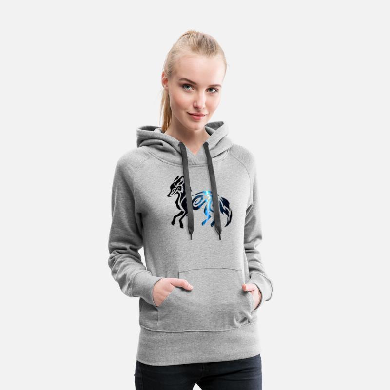 Tribal Space Fox Sweat shirt à capuche Premium pour femmes gris chiné