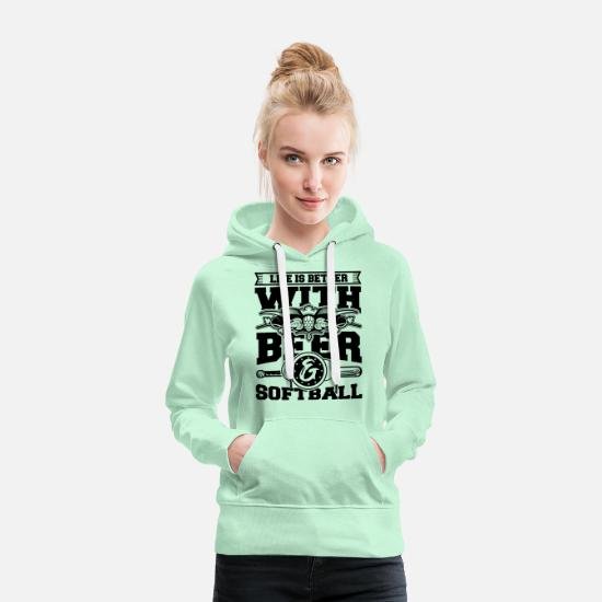 Sports Hoodies & Sweatshirts - Softball Player Coach Fan Funny Quotes - Women's Premium Hoodie light mint