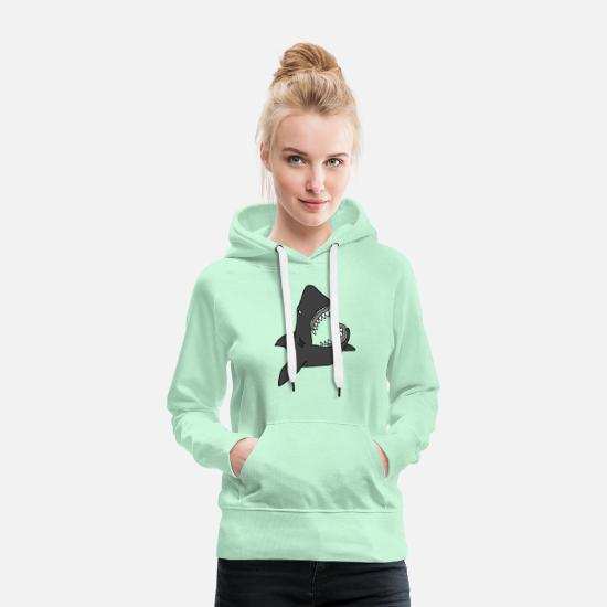 Haired Hoodies & Sweatshirts - Shark / Jaw - Women's Premium Hoodie light mint