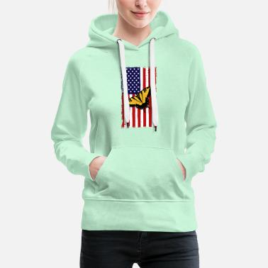 Peacock Butterfly America Flag Independence Day - Women's Premium Hoodie