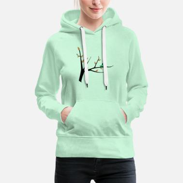 Spring bird on a tree - Women's Premium Hoodie