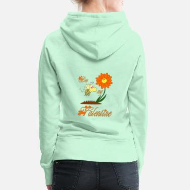 Bee my Valentine / bee valentine flower love - Women's Premium Hoodie