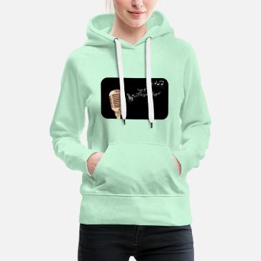 Electric Guitar Microphone silhouette multicolored notes - Women's Premium Hoodie
