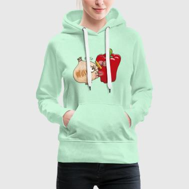 Smelly onion and cautious bell pepper kissing - Women's Premium Hoodie