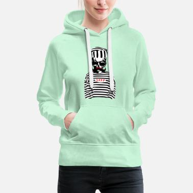 Death head of death hipster prisoner mustache sk sk - Women's Premium Hoodie