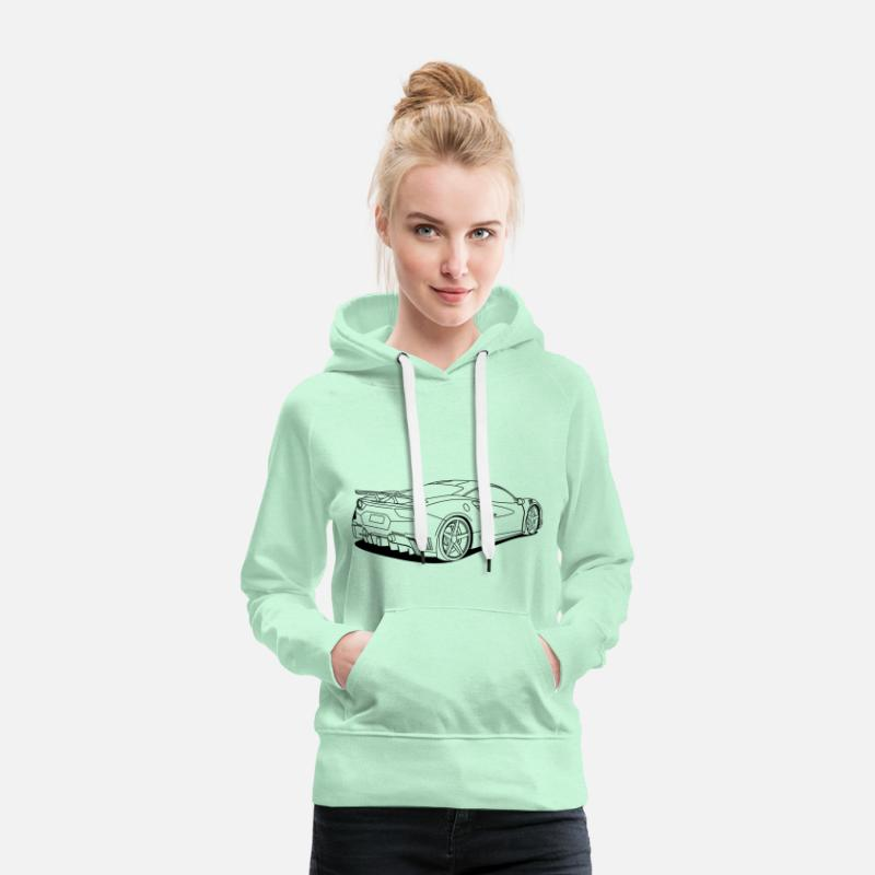 Awesome Hoodies & Sweatshirts - cool car outlines - Women's Premium Hoodie light mint