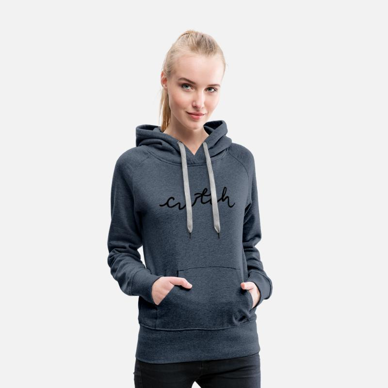 Welsh Hoodies & Sweatshirts - cwtch, cuddle in Welsh - Women's Premium Hoodie heather denim