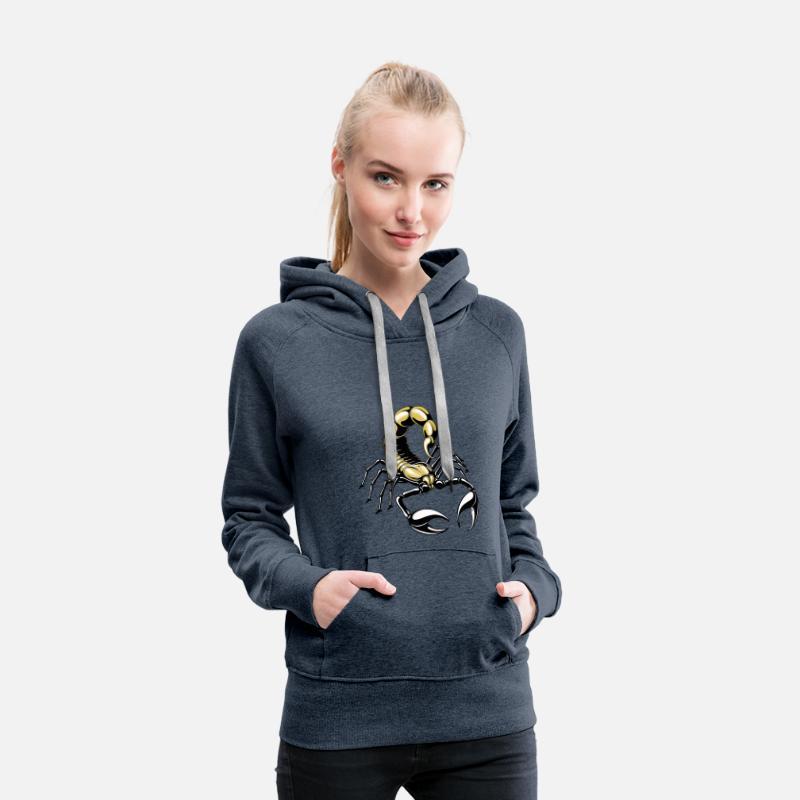 scorpion or jaune Sweat shirt à capuche Premium pour femmes bleu jeans