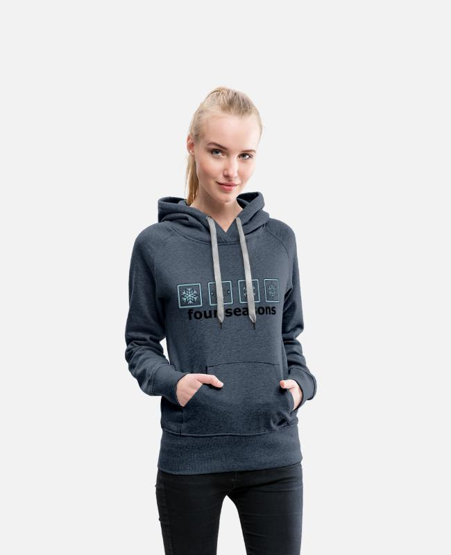 Winter Hoodies & Sweatshirts - The 4 winter times - Women's Premium Hoodie heather denim