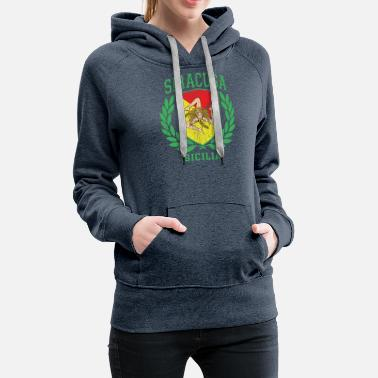Cefalü Sicilia Flag and Shield with Trinacria - Siracusa - Women's Premium Hoodie