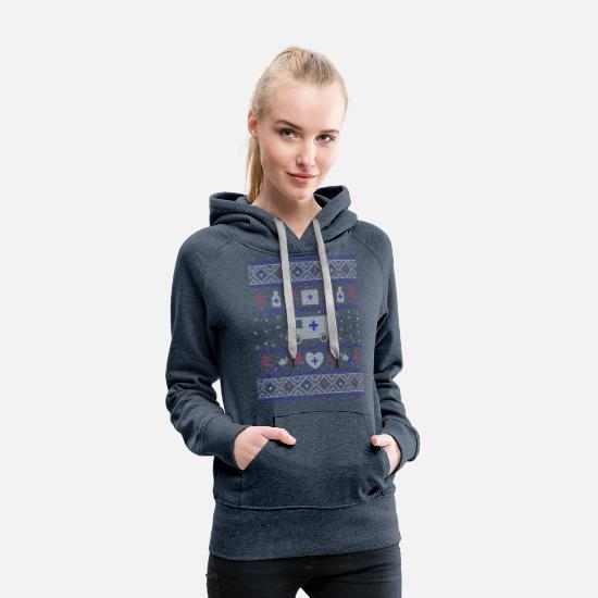 Gift Idea Hoodies & Sweatshirts - Ugly Christmas Hospital - Women's Premium Hoodie heather denim