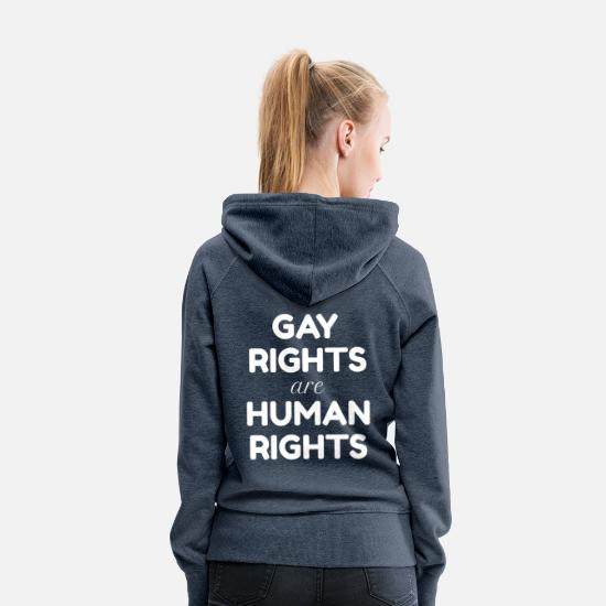 Gay Pride Hoodies & Sweatshirts - White lettering: Gay Rights are Human Rights - Women's Premium Hoodie heather denim