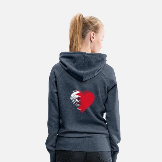 Love Hoodies & Sweatshirts - Grungy I Love Bahrain Heart Flag - Women's Premium Hoodie heather denim