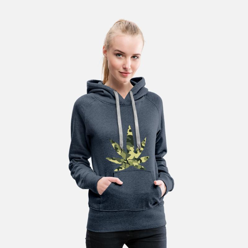 Stoner Hoodies & Sweatshirts - 420 Camouflage - Women's Premium Hoodie heather denim