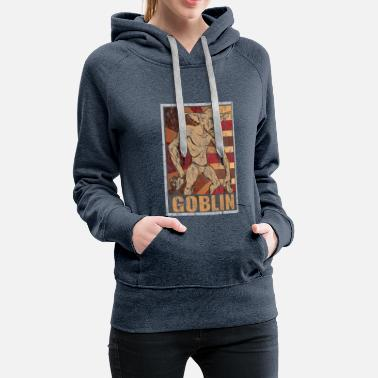English Retro Goblin Poster Distressed Look - Women's Premium Hoodie