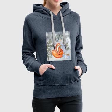 Christmas greetings - fox in the winter forest - Women's Premium Hoodie
