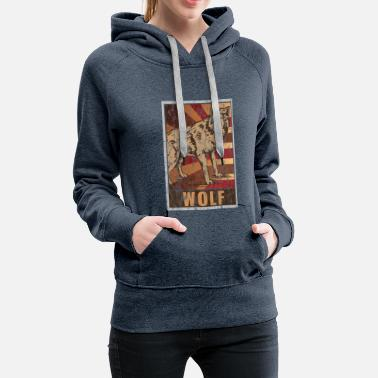 Wolves Retro Wolf Poster Distressed Look - Women's Premium Hoodie