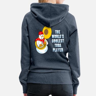 Music Note Coolest Tuba Player Light Text - Women's Premium Hoodie