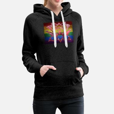 Lgbt Flag LGBT flag with rose - Women's Premium Hoodie