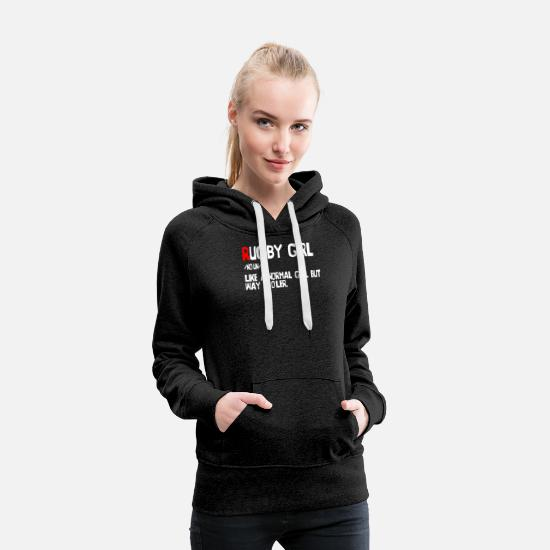 Rugby Hoodies & Sweatshirts - Funny rugby girl definition - Women's Premium Hoodie charcoal grey